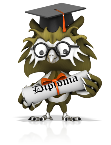 Owl holding diploma